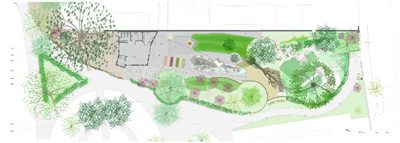 The site was a disused depot - itself built on the remainder of a Victorian arboretum - with an existing single-storey prefabricated building and many mature trees. The scheme celebrates playing in and around trees and landscapes.