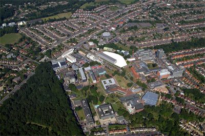 Aerial view of Highfield campus in 2005 with the Life Sciences site highlighted