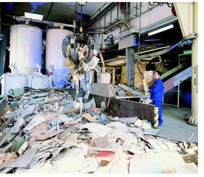 Post-installation vinyl flooring is recycled at Tarkett's Clervaux plant